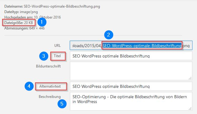 SEO WordPress optimale Bildbeschriftung