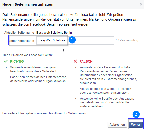 Facebook-Businesspage-Neuen-Seitennamen-anlegen
