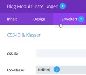 Divi Blogmodul-Einstellung CSS-Klasse vergeben