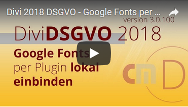 Divi DSGVO Video Cordmedia Google Fonts