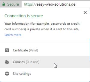 2018-06-03 Keine Cookie Verwendung Easy Web Solutions